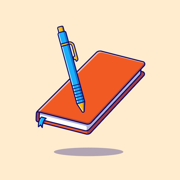 Book and pen cartoon icon illustration. education object icon concept isolated . flat cartoon style Free Vector