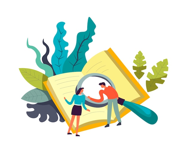 Book and people doing researches with magnifying glass Premium Vector