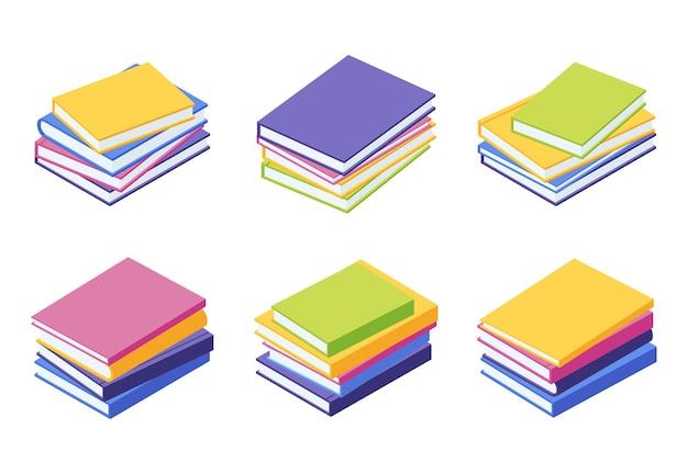 책 더미 아이소 메트릭-거짓말 다채로운 논문의 스택 그림 세트 프리미엄 벡터