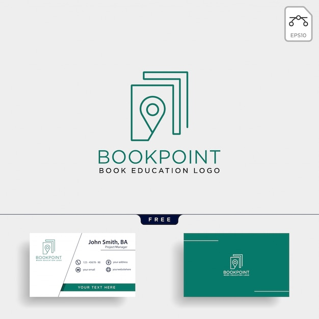 Book pin marker or navigation map simple line logo Premium Vector
