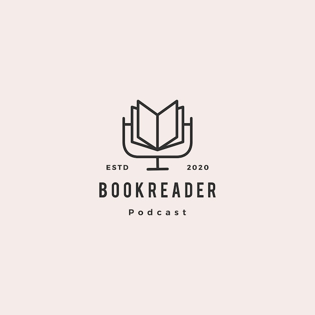 Book podcast logo hipster retro vintage icon for book blog video vlog review channel Premium Vector