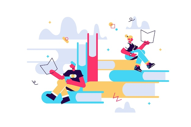 本を読む小さなキャラクターと積み上げられた巨大な本の本の読者の概念。男性と女性は本を読み、ラップトップで働きます。 Premiumベクター