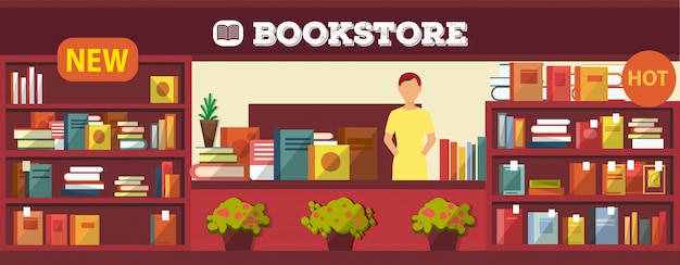 Book shop interior  illustration. various books on shelves and cashier desk indoors. bookstore with girl seller no buyers inside. popular and new items. Premium Vector