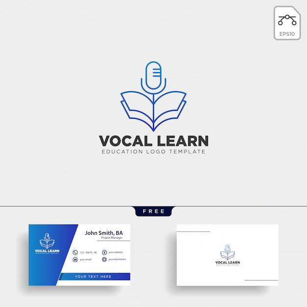 Book sing vocal learning line logo Premium Vector