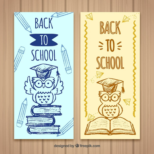 Book sketches and owl banners with mortarboard Free Vector