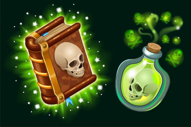 Book of spells and magical elixir. Free Vector