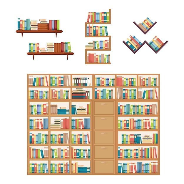 Book stack on bookshelf bookcase rack library furniture Premium Vector