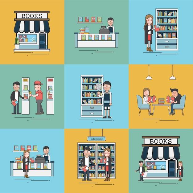 Book store scenes Free Vector