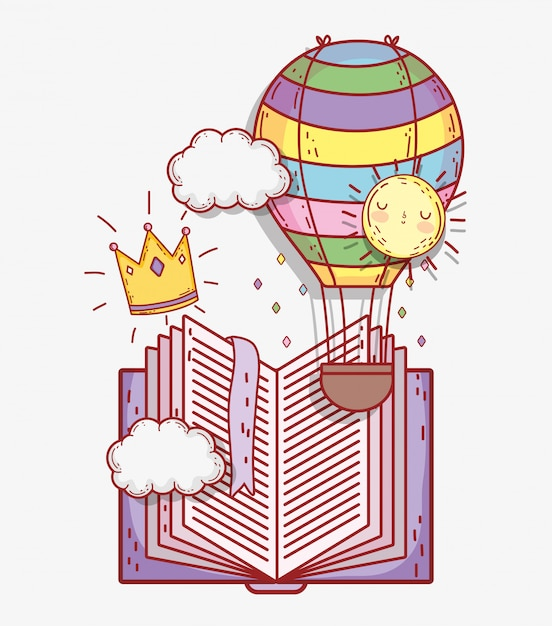 Book with air balloon and crown with clouds Premium Vector