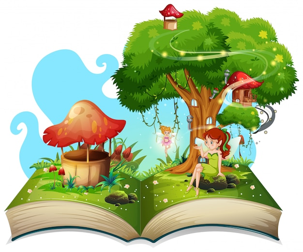 Book with fairies flying in garden Free Vector