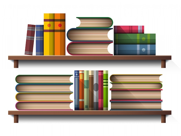 Book on wooden shelf Premium Vector