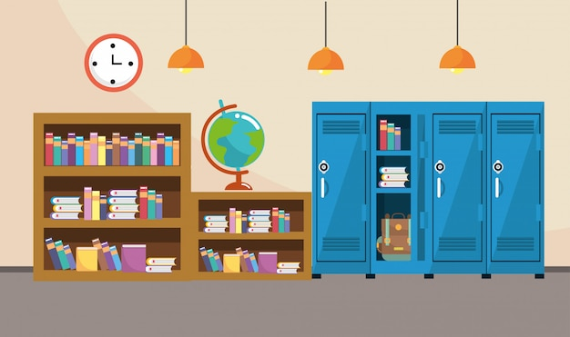 Bookcase and lockers with clock in the classroom supplies Premium Vector
