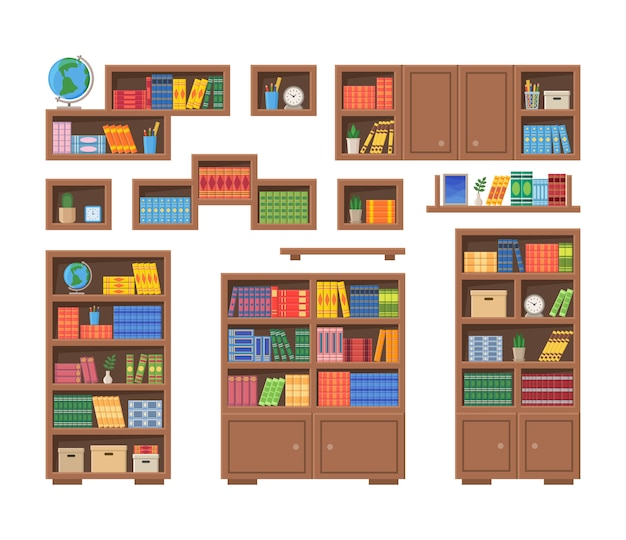 Bookcases with books and other office items. vector illustration of bookshelves isolated on white background Premium Vector