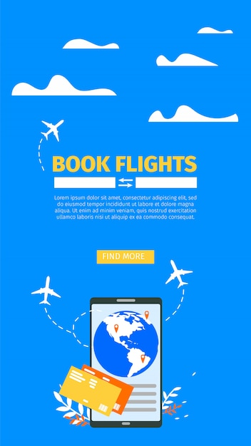 Booking airline tickets online flat vector website Premium Vector