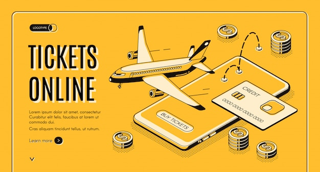 Booking airline tickets online isometric vector web banner Free Vector