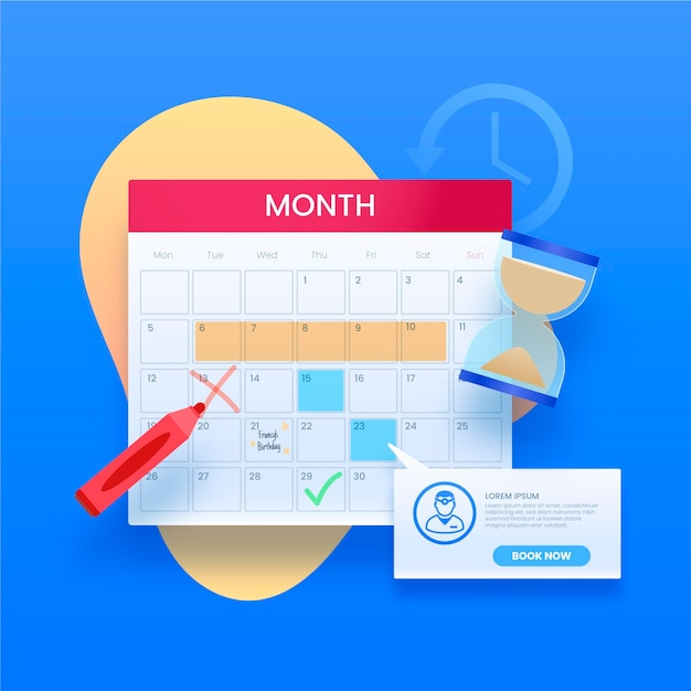 Booking an event calendar with marks Free Vector