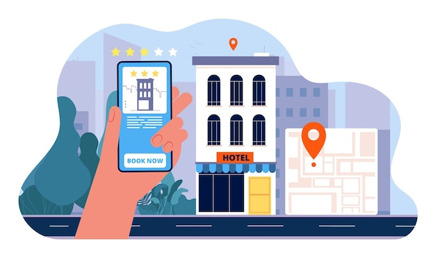 Booking hotel concept. people ordered hotel from smartphone and going to vacation  flat pictures Premium Vector