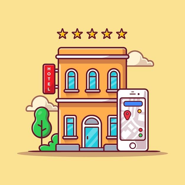 예약 호텔 온라인 만화 아이콘 그림입니다. 비즈니스 기술 아이콘 개념 무료 벡터
