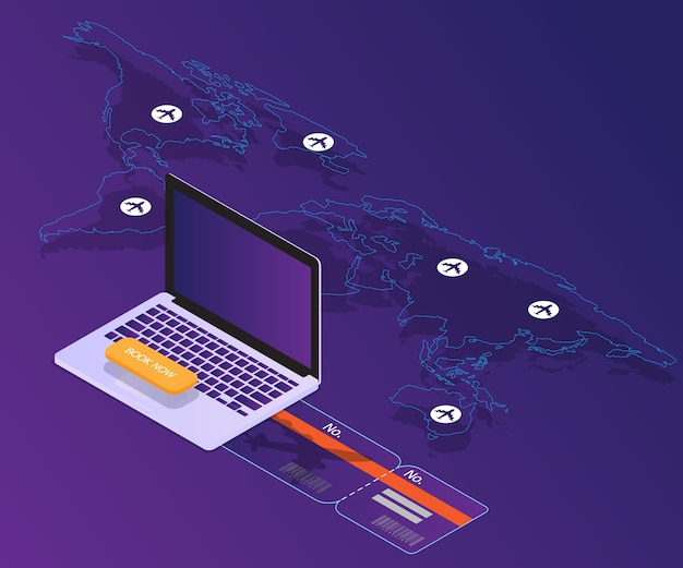 Booking online concept laptop with world map location vector booking online concept laptop with world map location vector isometric premium vector gumiabroncs Images