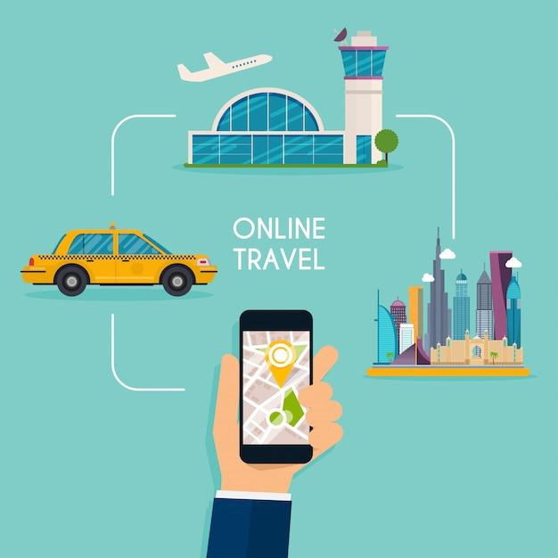 온라인 항공편 예약 및 택시 응답 웹 디자인 템플릿. 프리미엄 벡터