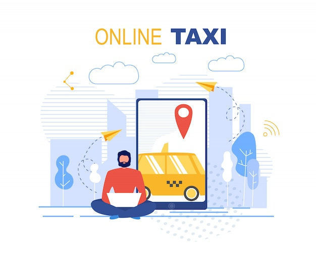 Booking online taxi service application ad banner Premium Vector