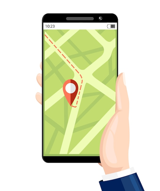 予約タクシーサービス。ナビゲーションサービス。ディスプレイ上のモバイルアプリでスマートフォンを保持します。 。白い背景のイラスト。 Premiumベクター