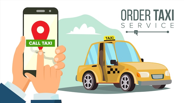 Booking taxi via mobile app Premium Vector