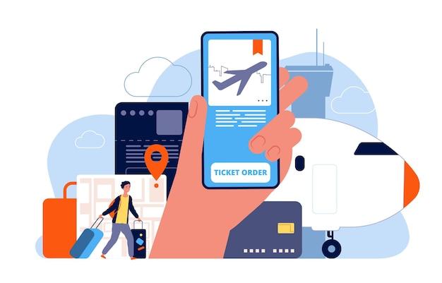 티켓 예약. 비행기 예약 온라인 주문 된 항공편 서비스 개념 사진. 프리미엄 벡터