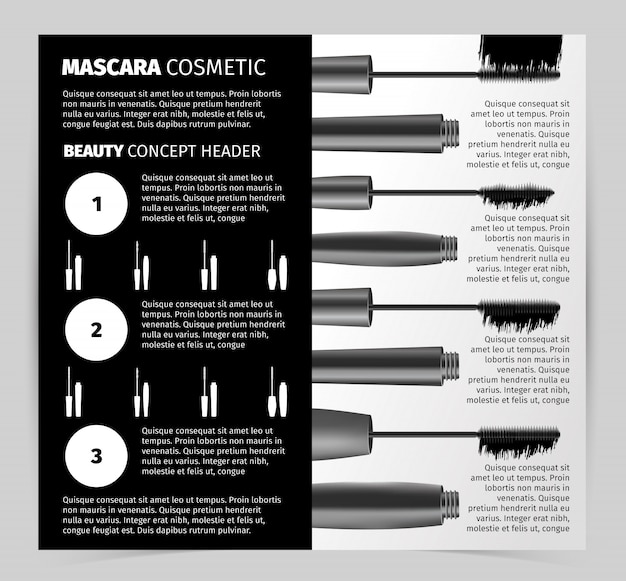 Booklet with realistic vector mascara objects Free Vector
