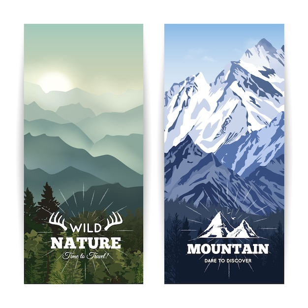Bookmark like landscape banners of wild forest before haze hills and winter mountains Free Vector