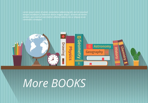 Books on bookshelf. study knowledge, furniture and wall, textbook, and information, encyclopedia science, Premium Vector