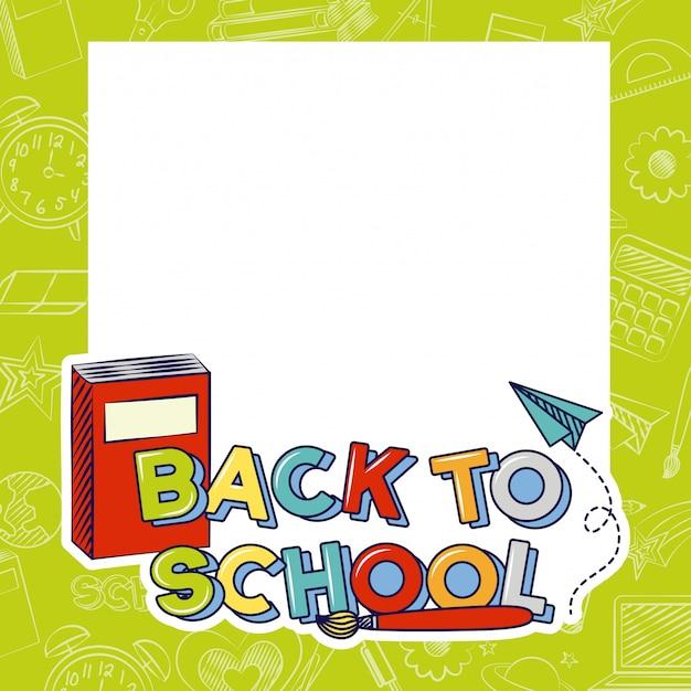 空白のスペース、学校の図に戻るの本、ブラシ、紙飛行機 無料ベクター
