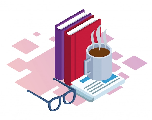 Books, coffee mug and glasses over white background, colorful isometric Premium Vector