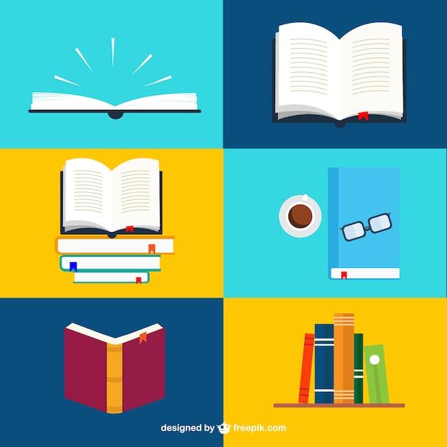 Books collection Premium Vector