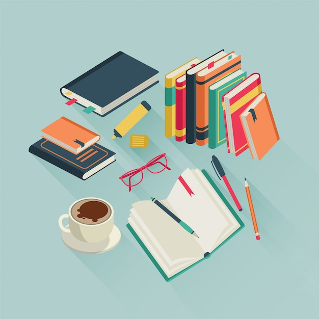 Books desktop. open book reading text magazine study read student school literature, colorful  illustration Premium Vector