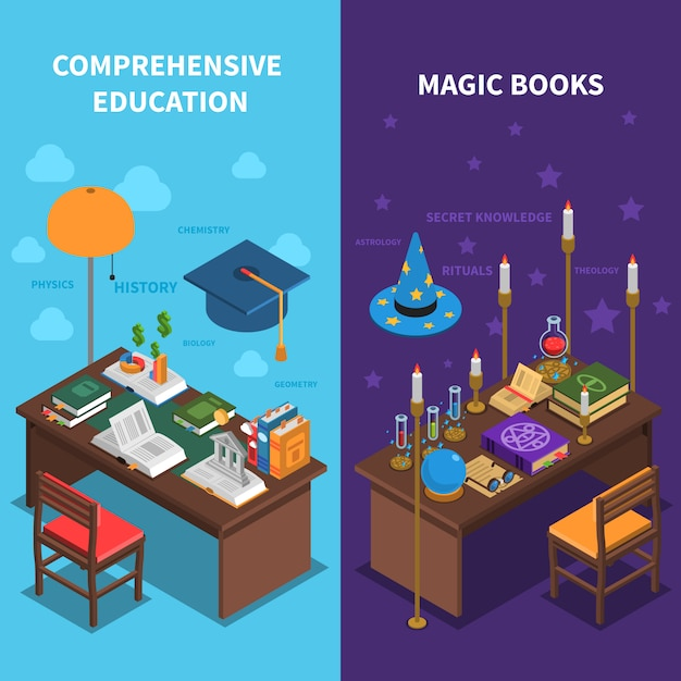 Books and education banners set Free Vector