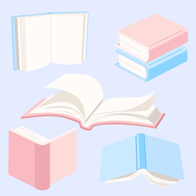 Books elements collection Free Vector
