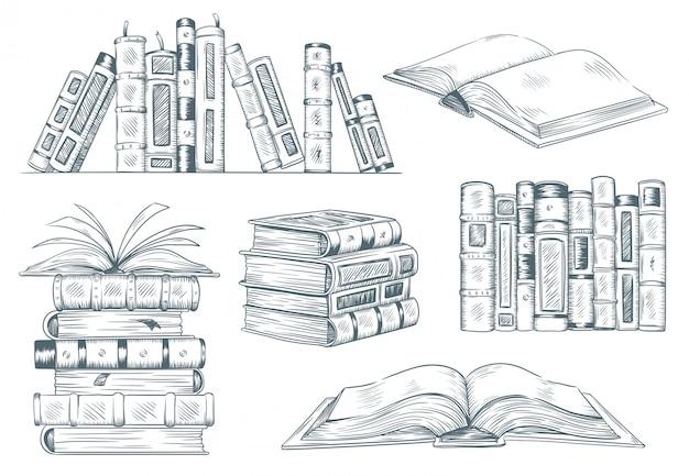 Книжная гравюра. винтаж открытая книга гравировать эскиз обращается. рука рисунок студент, чтение учебника иллюстрации Premium векторы