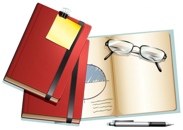 Books and eyeglasses on it Free Vector