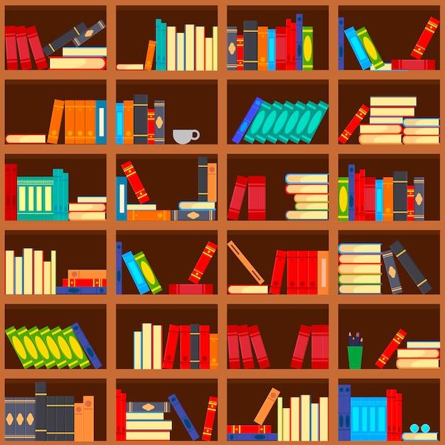 本棚のシームレスパターンの本 Premiumベクター
