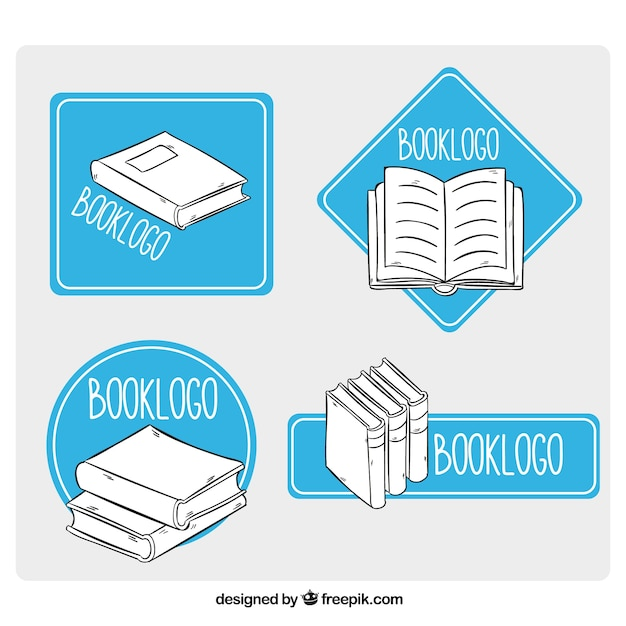 books logos with blue geometric shapes vector free download