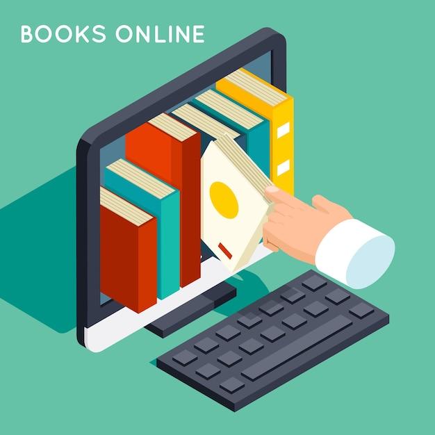 Libri in linea biblioteca isometrica 3d piatto concetto. conoscenza di internet, web online, tecnologia di studio, schermo del computer, Vettore gratuito