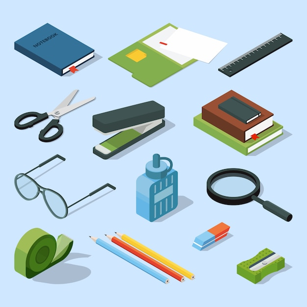 Books, paper documents in folders, and other base stationary elements set. Premium Vector