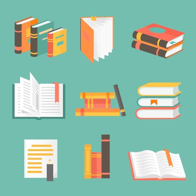 Books set in flat design style Premium Vector