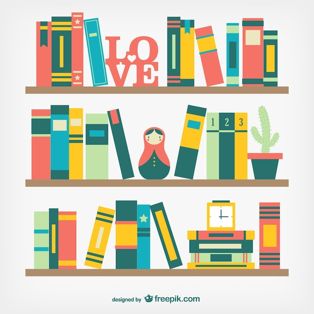 Books on shelves in flat design Free Vector