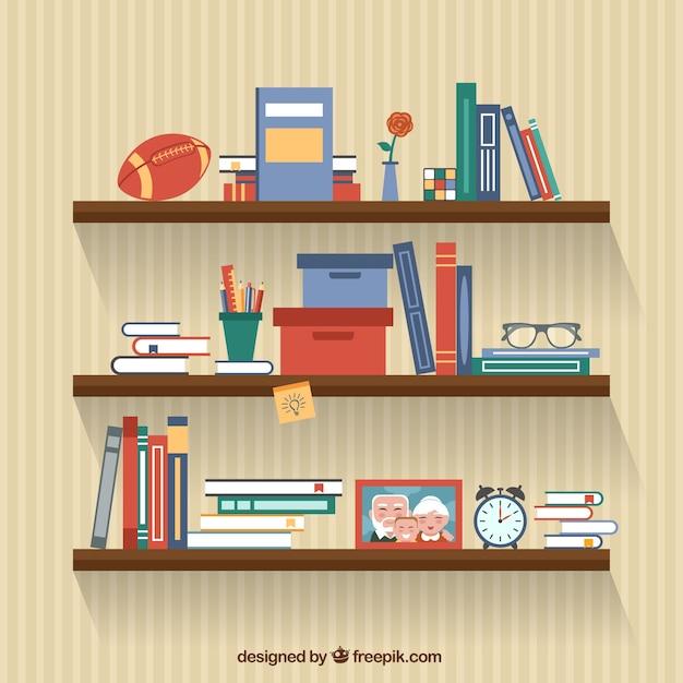 Books on shelves Premium Vector