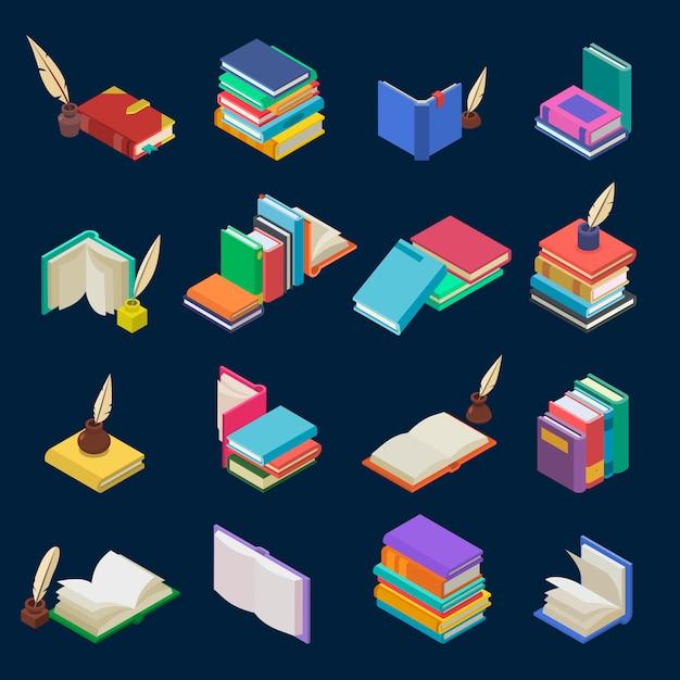 Стопка книг из учебников и тетрадей на книжных полках в библиотеке или книжном магазине иллюстрации изометрической набор книжной обложки школьной литературы, изолированных на фоне Premium векторы