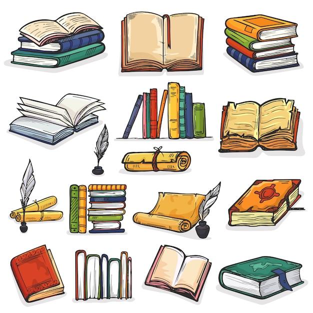 Стопка книг из учебников и тетрадей на книжных полках в библиотеке или книжном магазине иллюстрации набор чернильниц и чтения книжной обложки школьной литературы на белом фоне Premium векторы