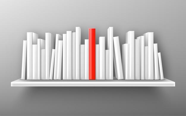 Books on white bookshelf, bestseller vector mockup Free Vector