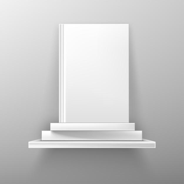 Books on white bookshelf, bestseller Free Vector